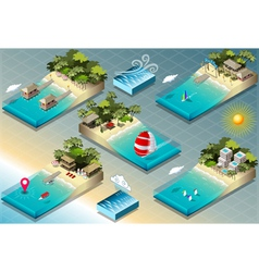 Isometric Tiles of Carribean Holidays vector image