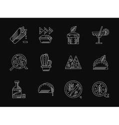 Mexican restaurant white flat line icons vector image