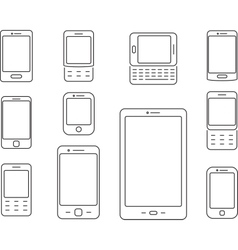 Mobile phones Cellphones and smartphones icons vector image