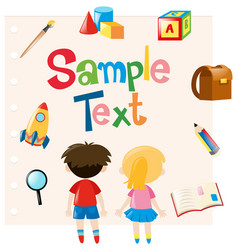 paper template with kids and school materials vector image