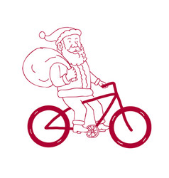 Santa claus riding bicycle side cartoon vector
