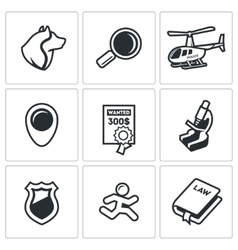 Search prosecution escaped convict icons set vector