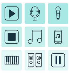 set of 9 multimedia icons includes stop button vector image vector image