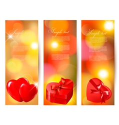 Set of beautiful valentine gift cards with red vector