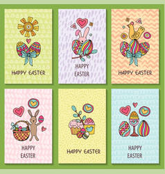 Set of cards for congratulations on easter vector
