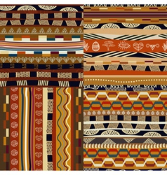 Set of seamless traditional ethnic patterns vector image