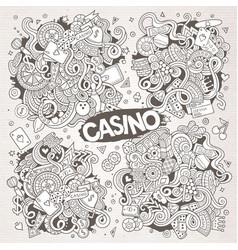 sketchy doodles cartoon set of casino vector image vector image