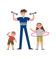 smiling father with his daughter and son doing vector image vector image