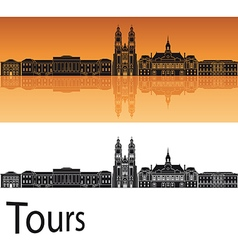 Tours skyline in orange background vector