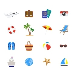 Travel Decorative Flat Icons Set vector image vector image
