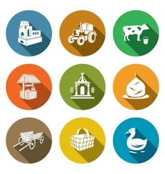 Village life icons set vector