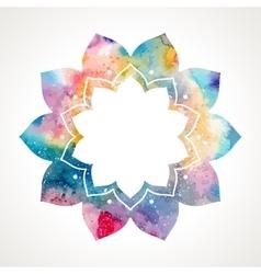 Watercolor flower oriental frame vector image