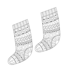 Winter knitted ethnic sock vector