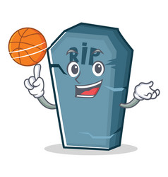 With basketball tombstone character cartoon object vector