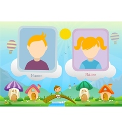Yearbook about boy and fairy landscape with two vector image