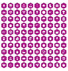 100 fruit icons hexagon violet vector