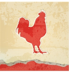 Red rooster retro poster vector image