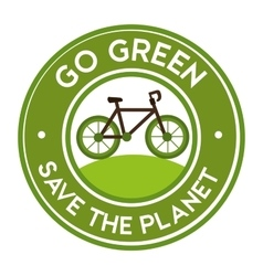 go green save the planet bike icon sticker vector image