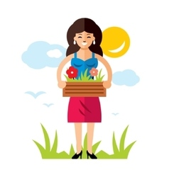 Gardening woman with flowers flat style vector