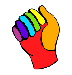 Glove in rainbow colors icon icon cartoon vector