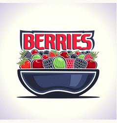 Berries still life on dish vector