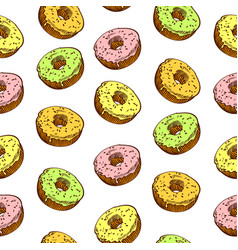 Hand drawn donut seamless pattern pastry vector