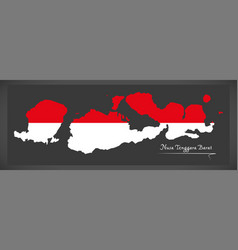 Nusa tenggara barat indonesia map with indonesian vector