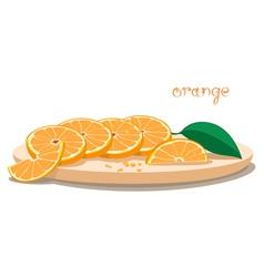 Served Oranges On Plate vector image