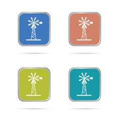 Windmill white silhouette icon vector