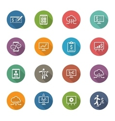 Business  money icons set flat design long vector
