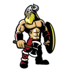 standing muscle body of viking warrior vector image