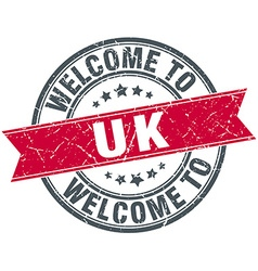 Welcome to uk red round vintage stamp vector