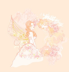 abstract floral background with a beautiful fairy vector image