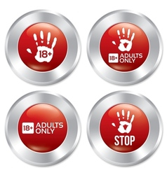 Adults only button set age limit stickers vector image