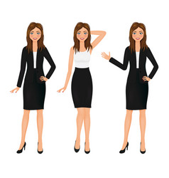 attractive business woman set girl in suit vector image vector image