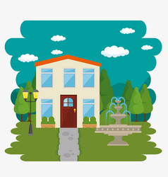 Beautiful and modern family house vector