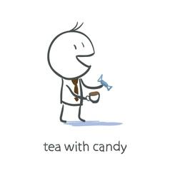 Businessman Having Tea vector image vector image