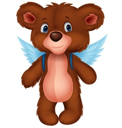 Cartoon baby bear with wings vector image vector image