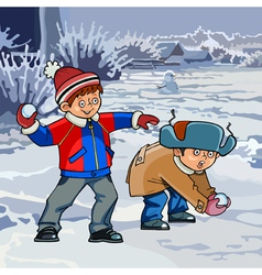 Cartoon two boys playing snowballs in winter vector