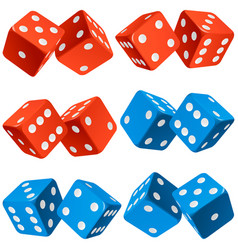 casino dice set of authentic icons red and blue vector image vector image