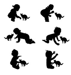children silhouette with cat in black vector image vector image