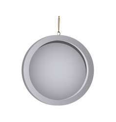 Color silhouette with circular frame mirror with vector