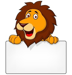 Cute Lion with blank sign vector image vector image