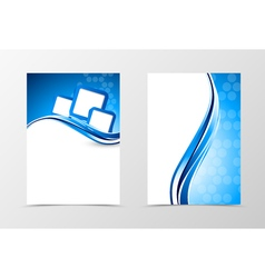 Front and back wave flyer template design vector image vector image