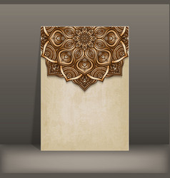 Grunge paper card with brown floral circular vector