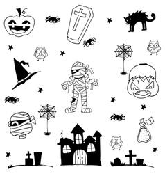 Halloween zombie castle tomb cat in doodle vector