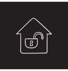 House with open lock sketch icon vector image