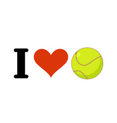 i love tennis heart and ball emblem for sports vector image vector image