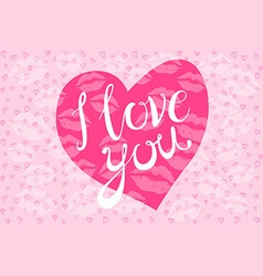 I love you kiss red lips heart pink vector