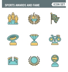 Icons line set premium quality of awards and fame vector image vector image